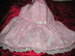 Pink Daisy & Gingham dog dress clothes S / XS custom made clothing apparel