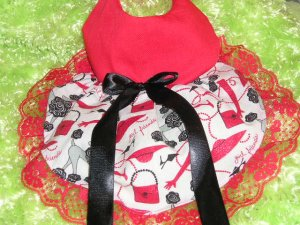 Poodles & Red Hats dog dress society clothes s / xs clothing CUSTOM MADE apparel
