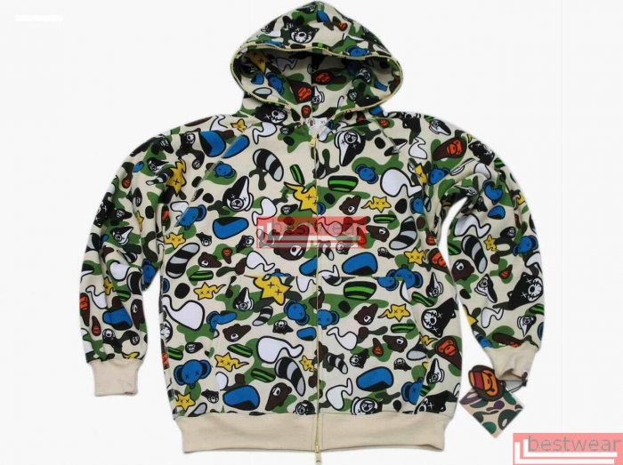 Brand New Bape A Bathing Ape Double-Zipper Hoodie Baby Milo BH15 Size XL