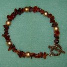 Red Jasper Genuine Gemstone Gold Embossed Accent Beads Gold Toggle Clasp