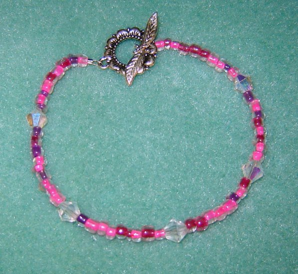 Pink E Bead Bracelet Crystal Accents Sterling Silver Toggle Clasp