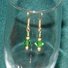 Green Bicone Crystal Pierced Earrings Gold Hooks