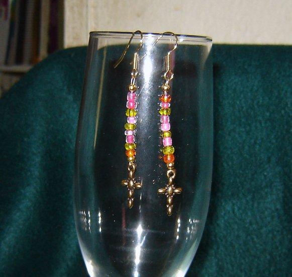 Pink E Bead Gold Cross Pierced Earrings Gold Hook
