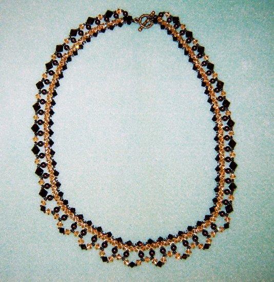 Amber Swarovski Crystals Brown Pearls Elegant Lattice Necklace Gold Toggle Clasp