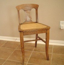 SOLD Vintage Small Golden Oak Chair with caned seat