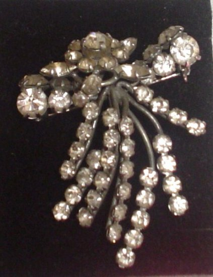 SOLD Antique Art Deco Rhinestone Brooch / Pendent