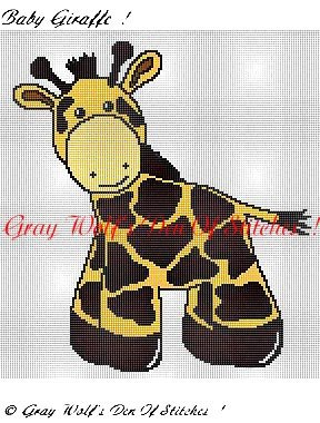 Baby Giraffe III **Crochet , Knit Afghan Patterns**