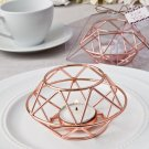 Set 6 Geometric design rose gold metal tealight candle holder