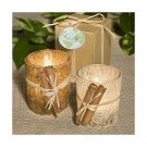 Natural Rattan Candles with Cinnamon Accents