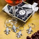 Fleur de lis design wine charm sets