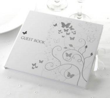 Guest Book - Elegant Butterflies Silver