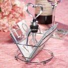 LOVE Design Glass Coaster and Wine Bottle Stopper Set