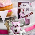 6x Cute Little Pink Owl Key Chain Favors