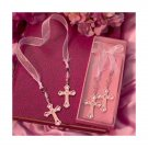 Rhinestone Cross Bookmark in Deluxe Box - Pink