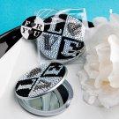 6x Sparkling rhinestone LOVE design mirror compact favors