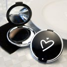 6x Stylish Black Heart Design Compact Mirror Favors