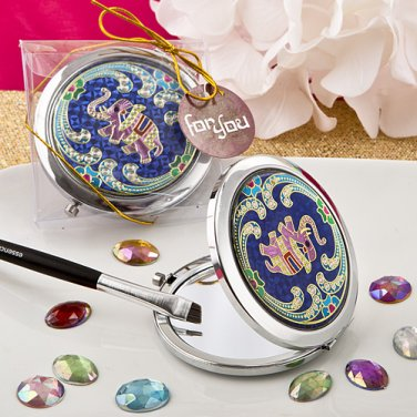 6x Indian elephant themed metal compact mirror
