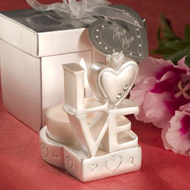 6x LOVE Design Candle Holder Favors