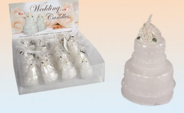 6x White Wedding Cake Candles