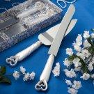 Interlocking Hearts Design Cake Knife & Server Set