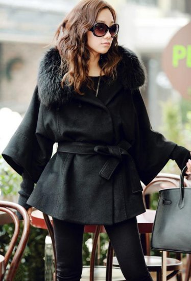 Beautiful Women's Coat Real Fox Fur Collar
