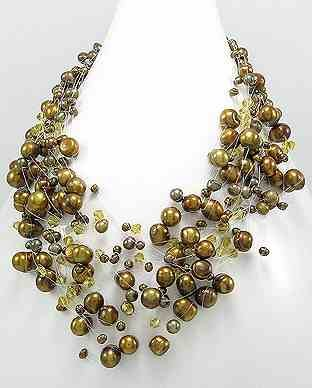 """Bronze Freshwater Pearl 19"""" Necklace"""