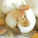 Mother of pearl and Smoky Quartz earrings