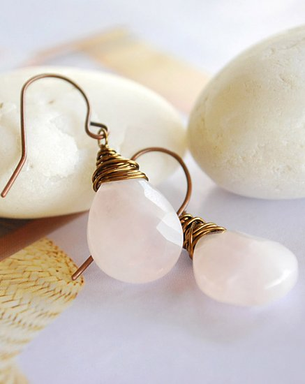 Wire wrapped Rose Quartz earrings