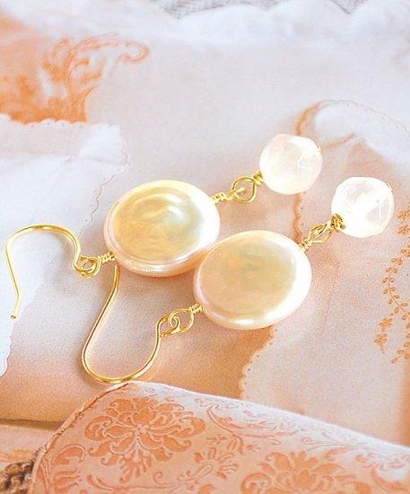 Light peach Fresh Water Pearl and Rose Quartz drop earrings