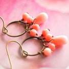 Dangling pink coral earrings