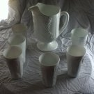Indiana Harvest Milk Glass Beverage set