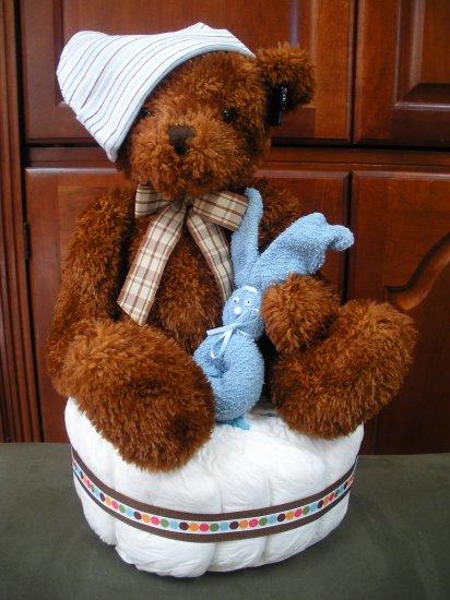 Teddy Bear Diaper Cake ~ Blue