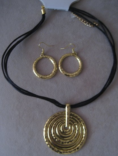 Gold Statement Necklace Set with Earrings