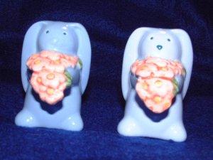 Avon Blue Springtime Bunny Salt And Pepper Set