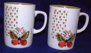 Georges Briard Butterfly Mugs (Pair), Vintage