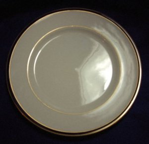 "Sterling China Co. Black And Gold Rimmed 10 1/2"" Plate"