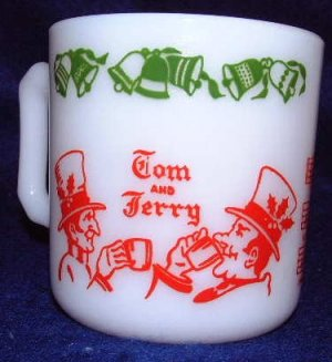 Hazel Atlas Tom And Jerry Milk Glass Punch Mug