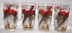 Vintage Pheasant Hunt Glasses Set (1950's)