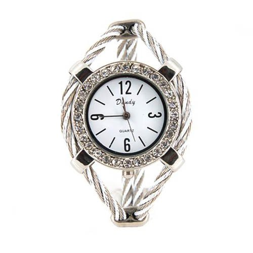 Women's Quartz Wrist Watch with Diamond Decoration (Silver)