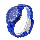 Round Watch Dial Plastic Watchband Women's and Men's Wrist Watch with Water Resistant and Calendar