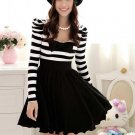 New Hot sale dresses Black Cotton Fashion Stripes Stitching Dress