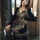 New Hot sale dresses  Black Cotton Long-Sleeved Sexy Leopard Dress