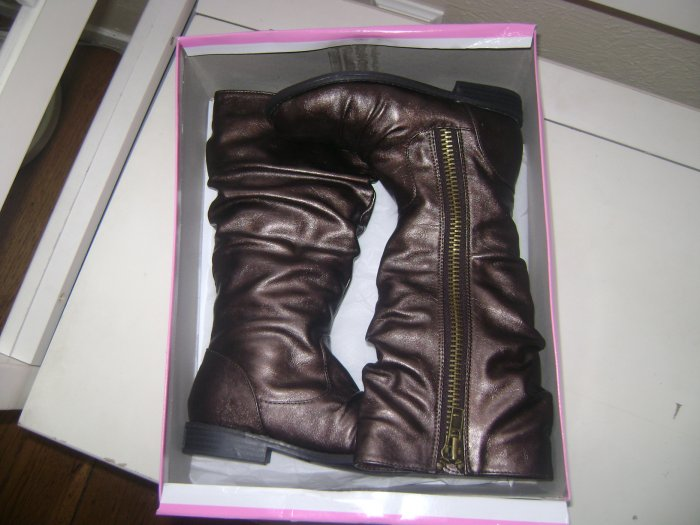 JESSICA SIMPSON Girls COPPER Brown Tall Slouch BOOTS 13