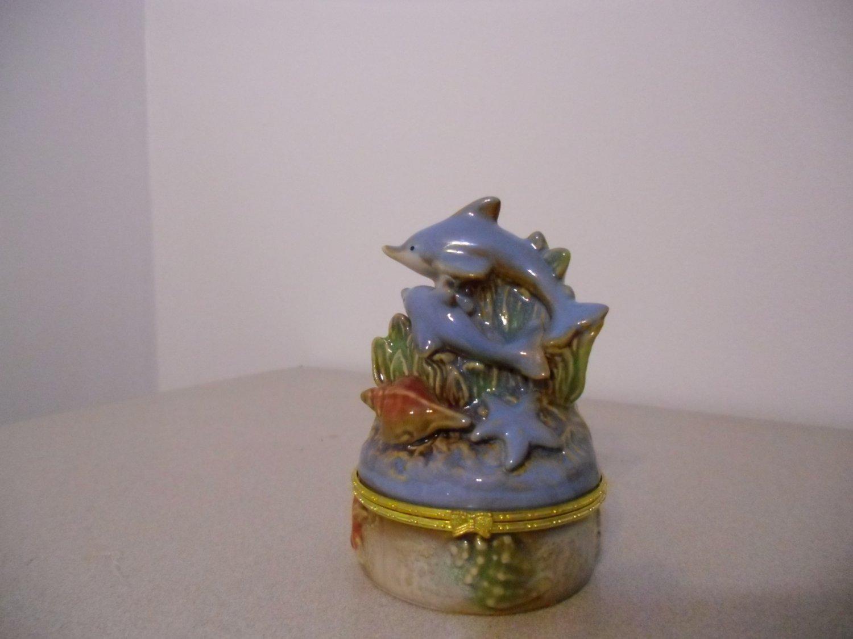 Dolphin Ring Box Wedding Cake Topper