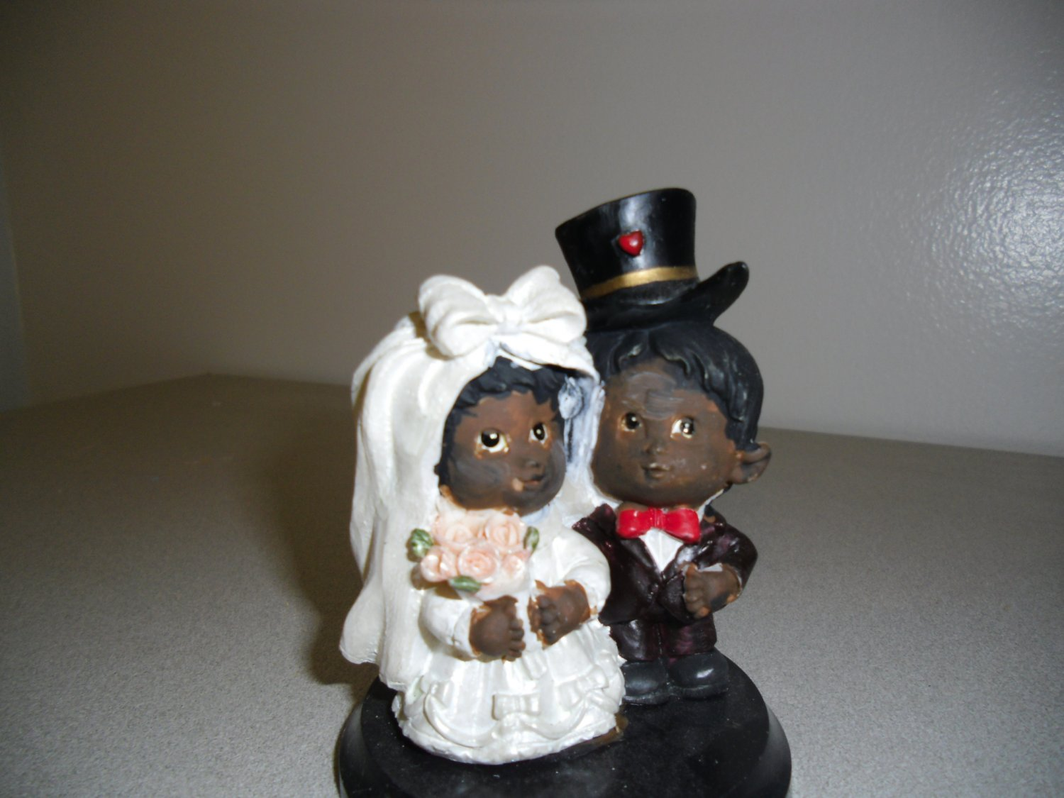 African American Little Bride and Groom Wedding Cake Topper
