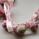 Rose cotton beads and rose satin ribbon bracelet