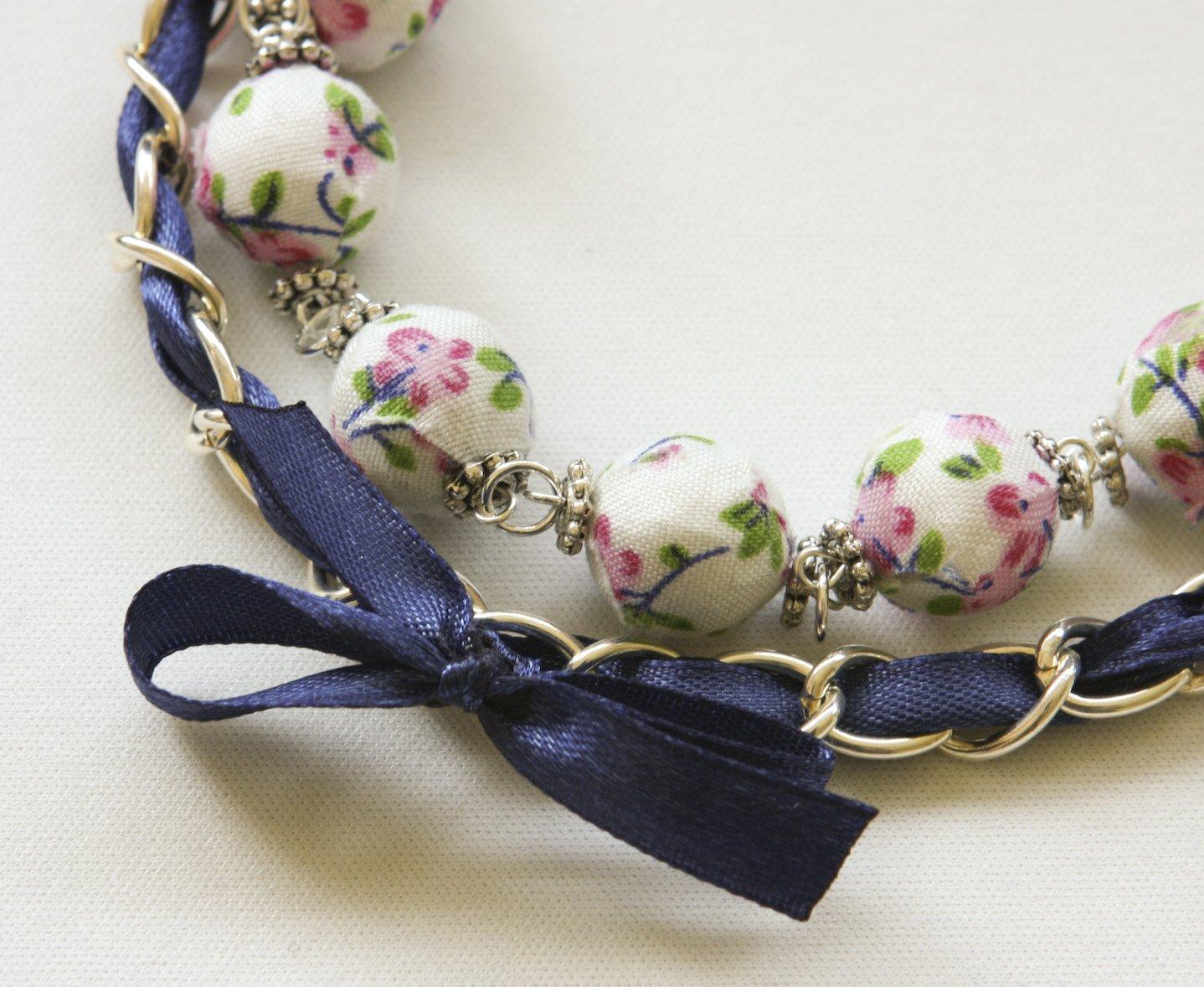Cotton beads and blue satin ribbon bracelet