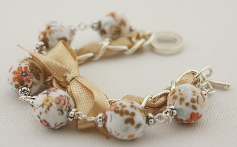 White floral cotton beads and eggshell satin ribbon bracelet