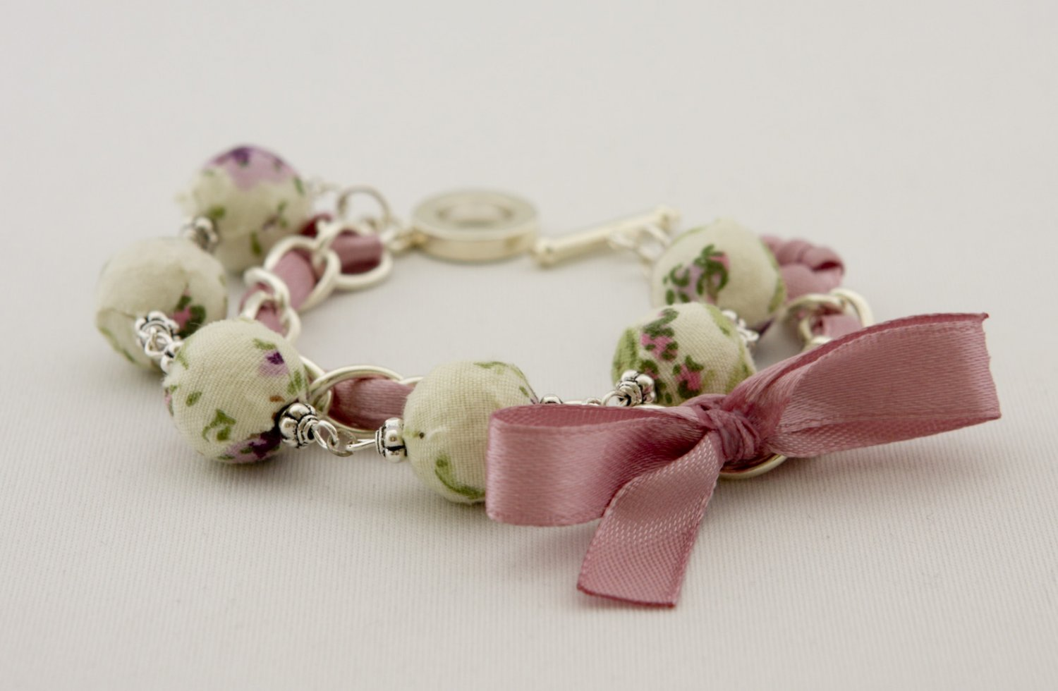 Floral cotton beads and orchid satin ribbon bracelet