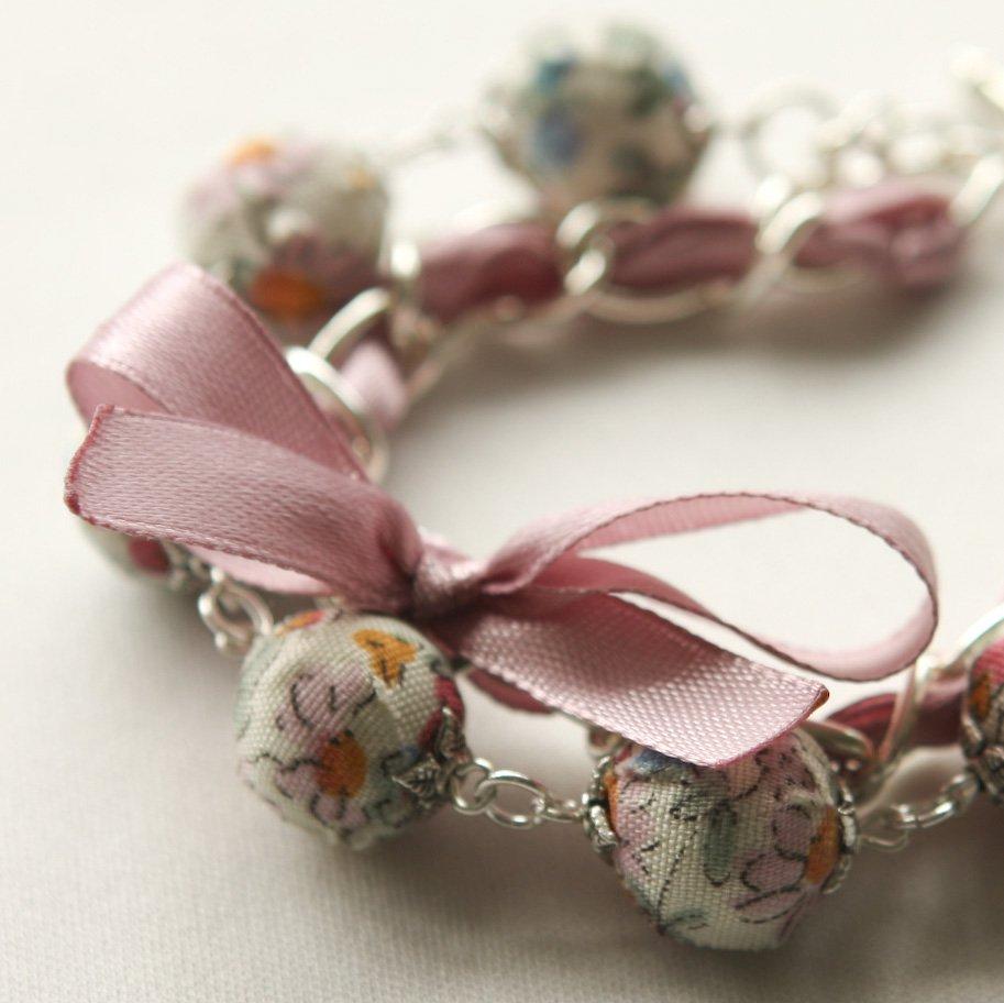 Cream fabric beads and lilac satin ribbon bracelet